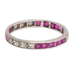 1920s Art Deco Ruby Diamond Eternity Ring
