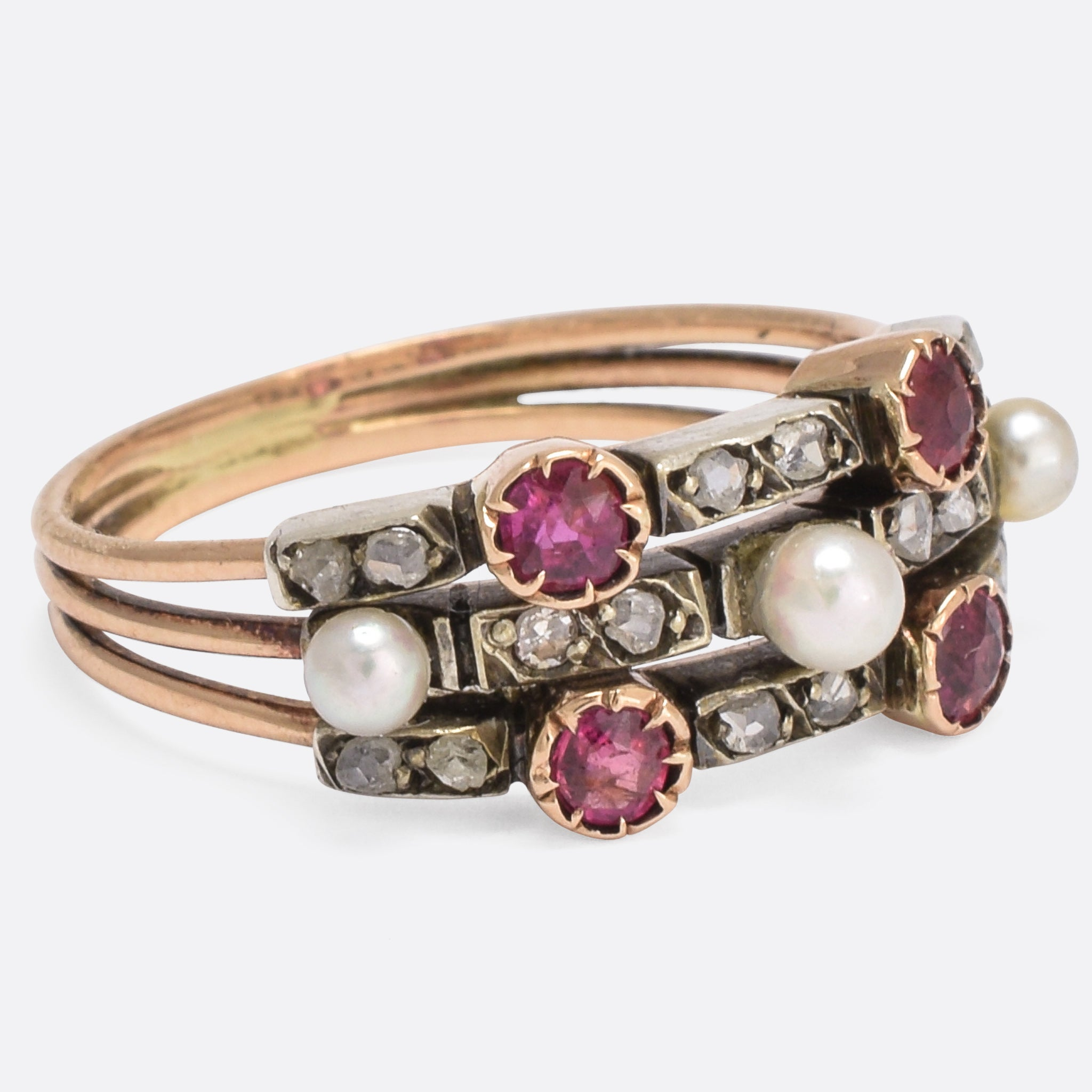 overstock ring jewelry watches triple red gold shipping product ruby diamond free band white today kabella