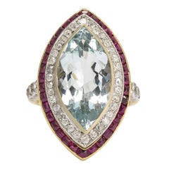 Antique Edwardian 7.82 Carat Aquamarine Diamond Ruby Marquise Halo Ring