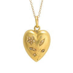 Victorian Pearl Forget-Me-Not Heart Pendant