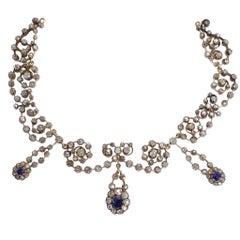 Victorian Sapphire 14.4 Carat Diamond Collar Necklace