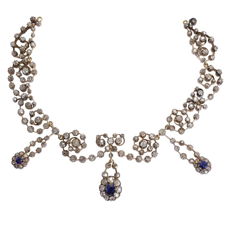 Victorian Sapphire 14.4 Carat Diamond Collar Necklace For Sale