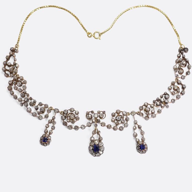 Victorian Sapphire 14.4 Carat Diamond Collar Necklace For Sale 1