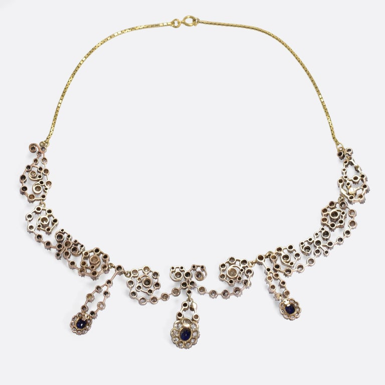 Victorian Sapphire 14.4 Carat Diamond Collar Necklace For Sale 2