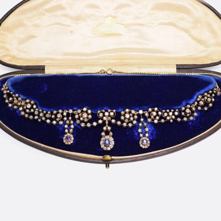 Victorian Sapphire 14.4 Carat Diamond Collar Necklace For Sale 3