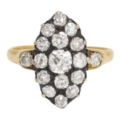 Victorian 2 Carat Old Cut Diamond Marquise Ring