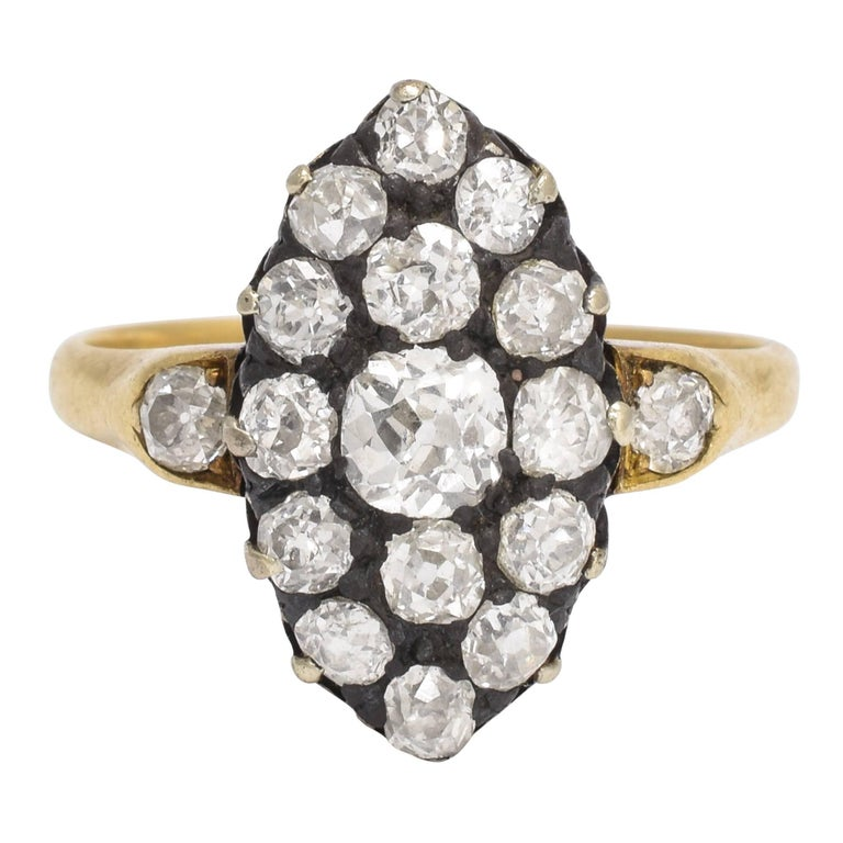 Victorian 2 Carat Old Cut Diamond Marquise Ring For Sale