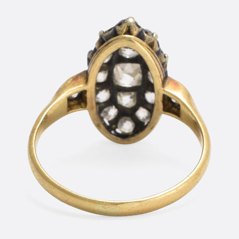 Victorian 2 Carat Old Cut Diamond Marquise Ring In Excellent Condition For Sale In Sale, Cheshire