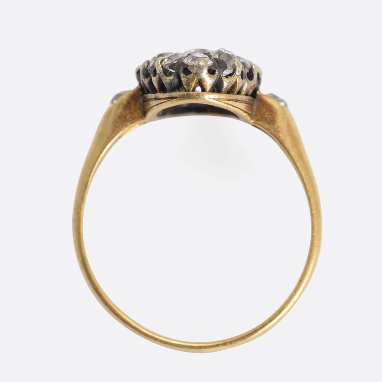 Women's Victorian 2 Carat Old Cut Diamond Marquise Ring For Sale