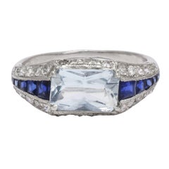 Art Deco Aquamarine Sapphire Diamond Platinum Cocktail Ring