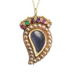 "Antique Regency Acrostic ""Regard"" Gemset Witches Heart Locket"