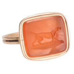 "Georgian Carnelian ""English Pointer"" Intaglio Ring"