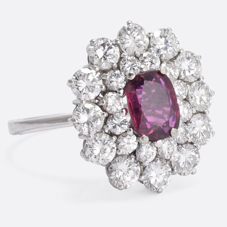 Vintage Ruby Diamond Flower Cluster Ring At 1stdibs