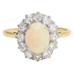 Antique Edwardian Opal Diamond Halo Cluster Ring