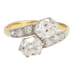 "Edwardian 2 Carat Diamond ""Toi et Moi"" Engagement Ring"