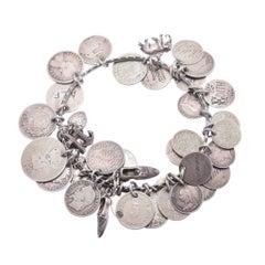 "Victorian ""Coins & Charms"" Silver Love Token Bracelet"
