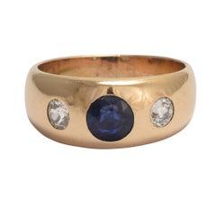Victorian Sapphire Diamond Three-Stone Gypsy Ring