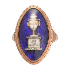 """1780s Georgian """"She Was Beloved"""" Navette Memorial Ring"""