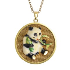 """1960s Vintage Chinese """"Lucky Panda"""" Gold Necklace"""