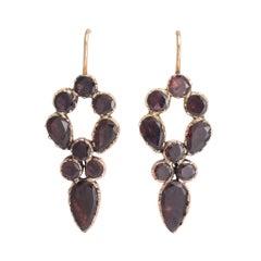 Georgian Flat-Cut Garnet Earrings