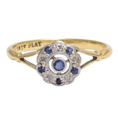 Art Deco Sapphire and Diamond Flower Cluster Ring