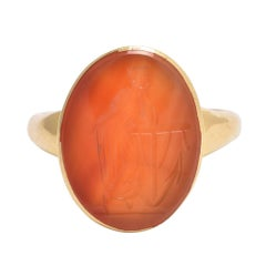 "Antique Carnelian ""Lady Hope"" Intaglio Ring"