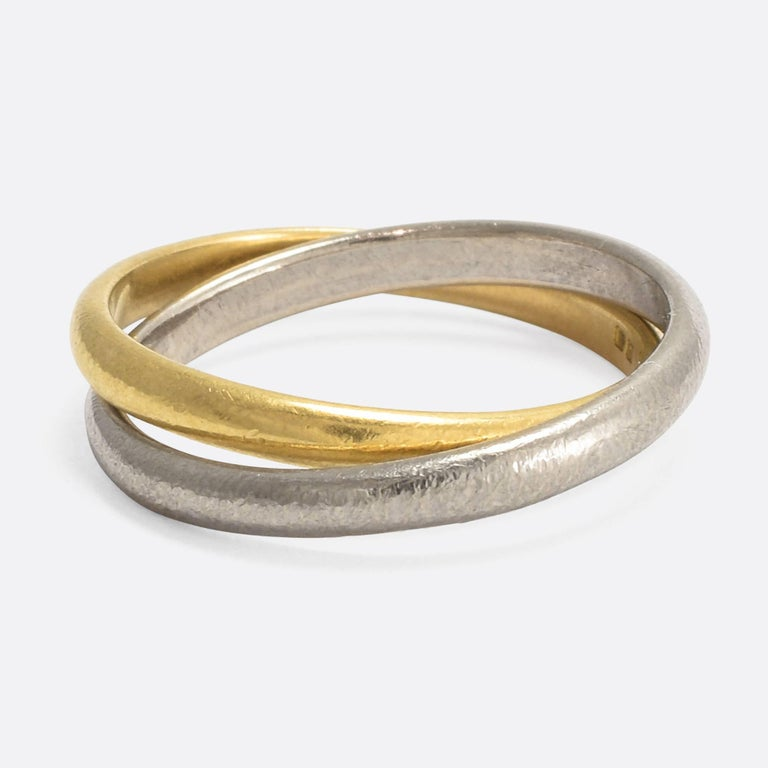Vintage Interlinked Two Tone Gold Wedding Band For Sale At 1stdibs