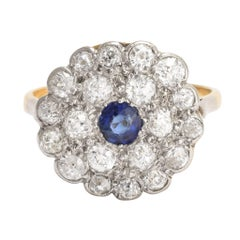 Art Deco Blue Sapphire Diamond Flower Cluster Ring