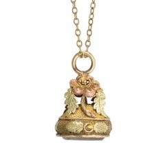 Georgian Three-Tone Gold Locket Fob Pendant