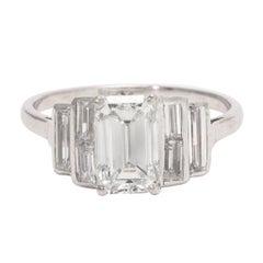 Art Deco 1.35 Carat Emerald Cut Diamond Engagement Ring