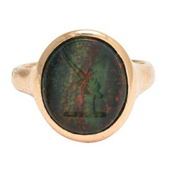 Edwardian Hand Dagger Bloodstone Signet Ring, 9 Karat Gold, circa 1918