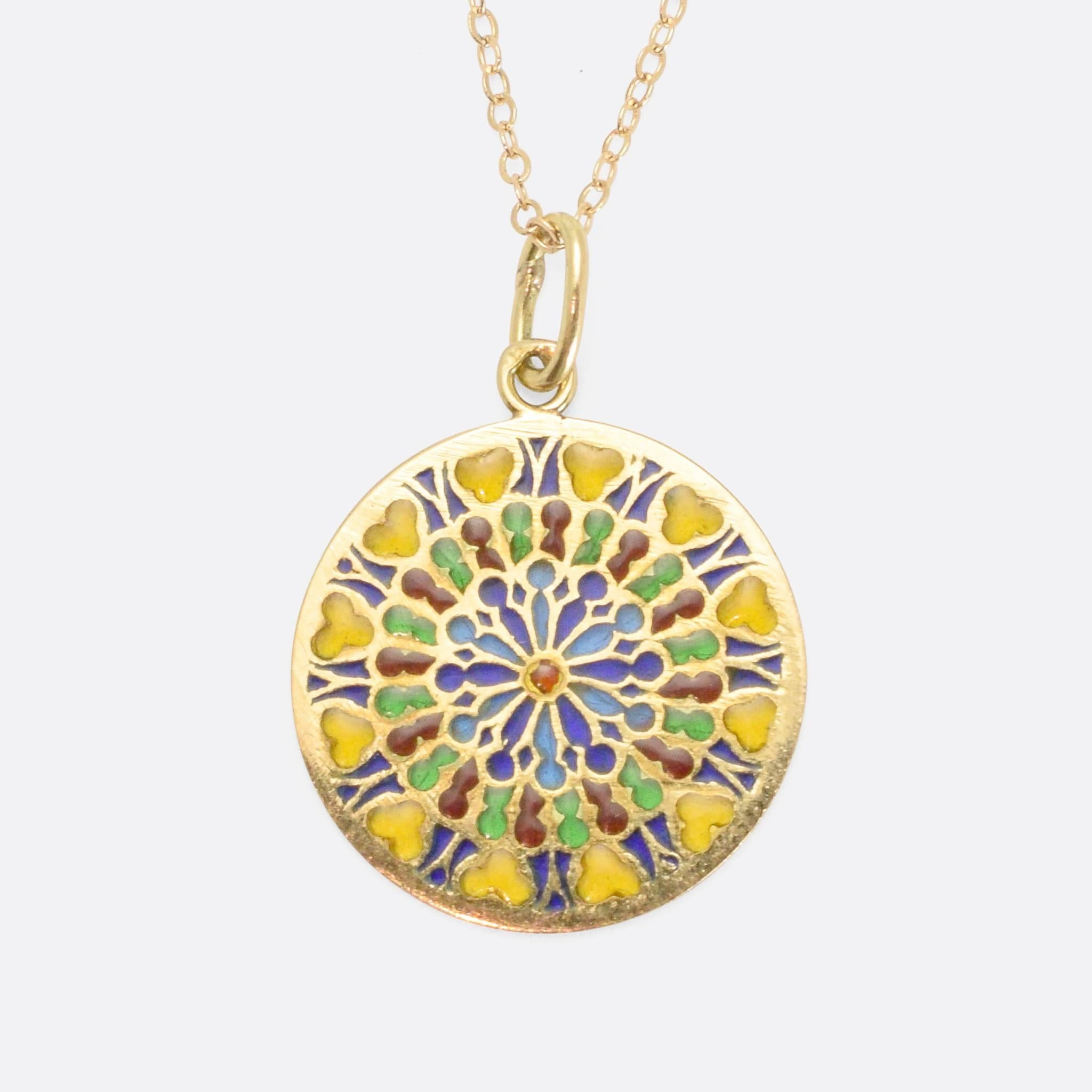 Antique notre dame rose window plique jour pendant 18 karat gold antique notre dame rose window plique jour pendant 18 karat gold circa 1910 at 1stdibs aloadofball Choice Image
