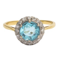 Art Deco Zircon Diamond Halo Ring