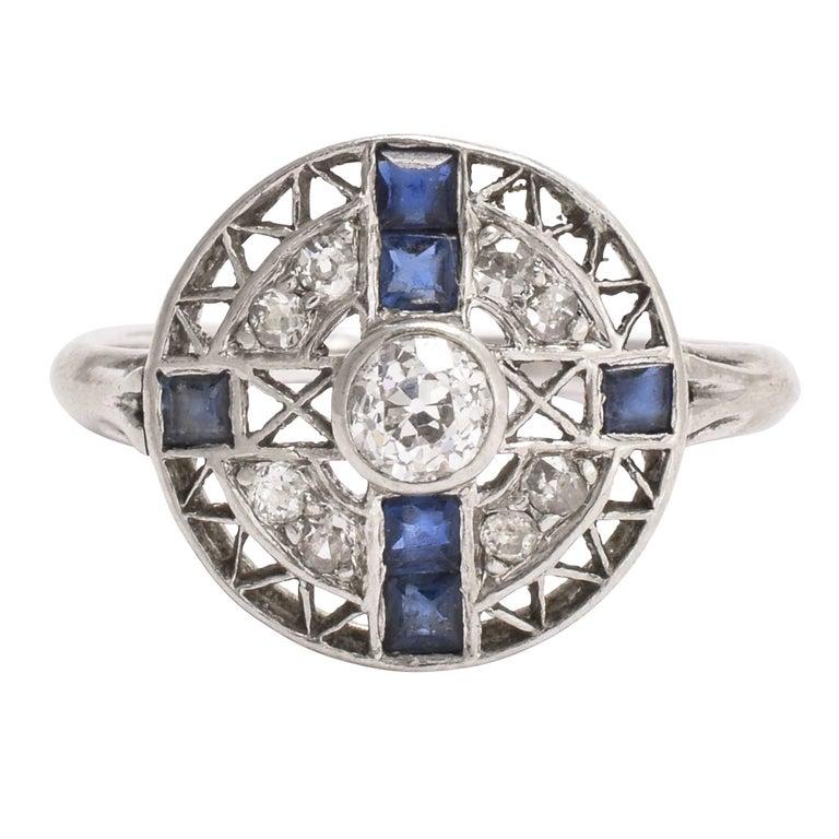 Art Deco Sapphire Diamond Openwork Cluster Ring