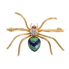 Antique Victorian Diamond Enamelled Spider Brooch