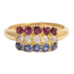 """Victorian """"Red White and Blue"""" Multigem Tricolor Ring"""