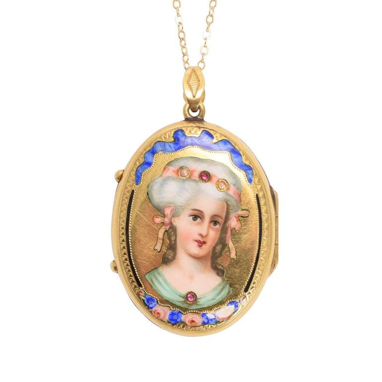 19th Century Ruby Pearl Enamelled Portrait Locket