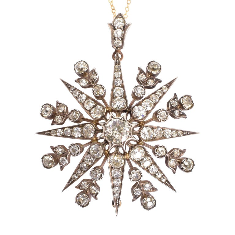 Antique Victorian 6 Carat Diamond Star Pendant