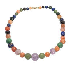Victorian Amethyst, Lapis and Agate Bead Necklace