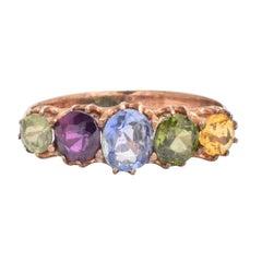 Antique Victorian Harlequin Five-Stone Ring