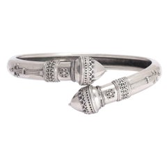 Victorian Etruscan Revival Silver Acorns Bangle