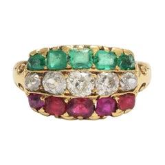 Victorian Ruby Diamond Emerald Tricolor Ring