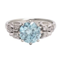 1930s Art Deco Blue Zircon Solitaire Ring