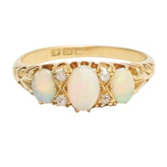 Victorian Opal Diamond Scrolled Gypsy Ring