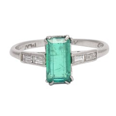 Art Deco Emerald Diamond Solitaire Ring