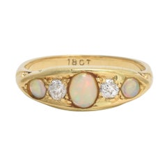 Victorian Opal Diamond Five-Stone Ring
