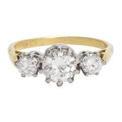 Art Deco 1.5 Carat Diamond Trilogy Ring