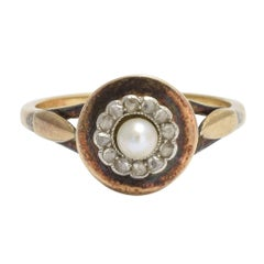 Edwardian Pearl Rose Cut Diamond Cluster Ring