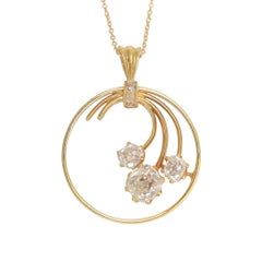 Art Nouveau Cushion Cut Diamond Flower Pendant
