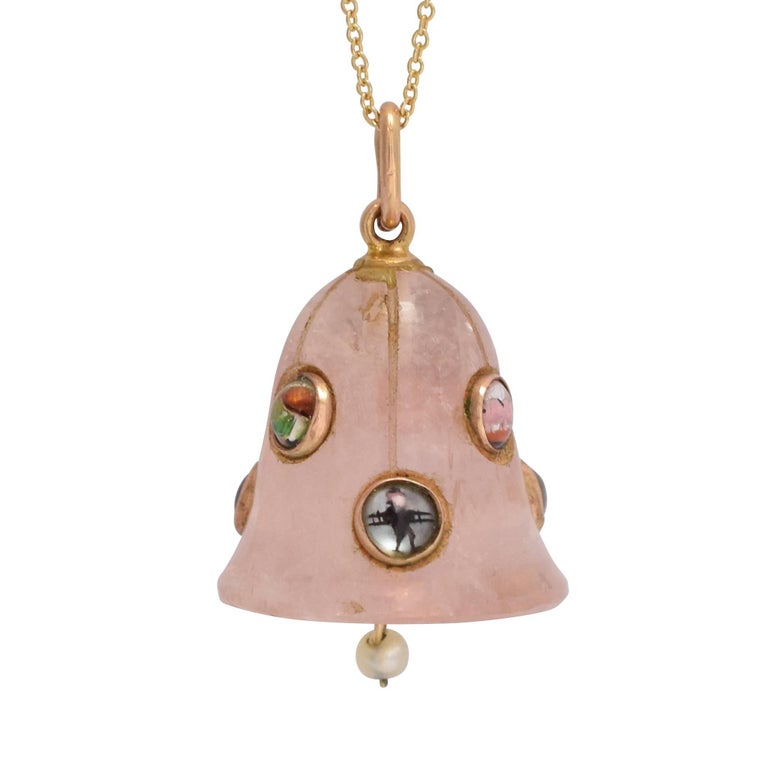 "Victorian Rose Quartz ""Lucky Charms"" Bell Pendant"